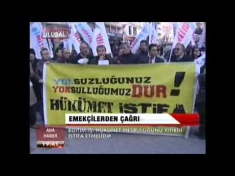 Eğitim İş Genel Merkez Yöneticileri ve Ankara Şubesi yönetici ve üyeleri gündemdeki yolsuzluk olaylarını protesto ettiler