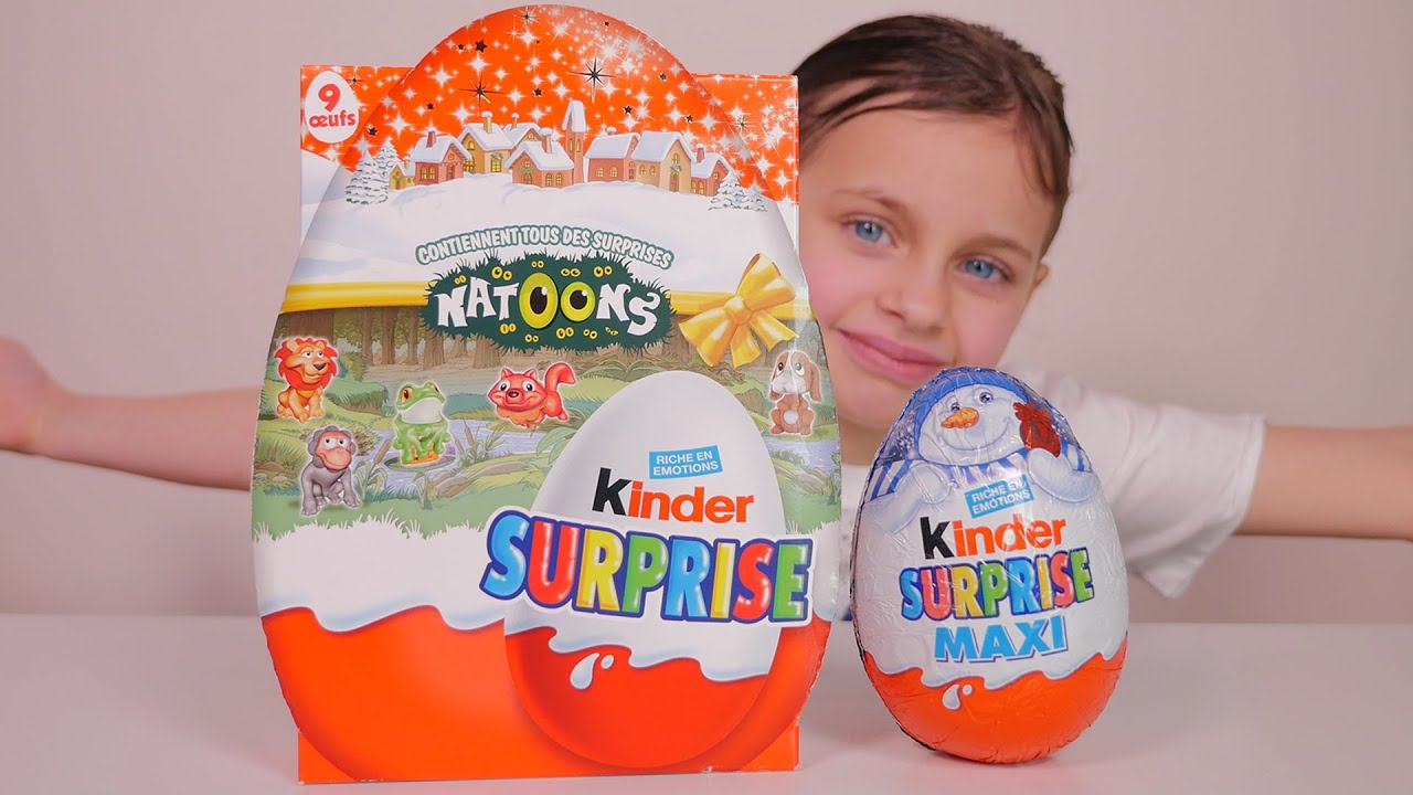 Kinder Egg Natoons Oeuf Maxi Kinder Surprise De Noël Et 9 Kinder Surprise