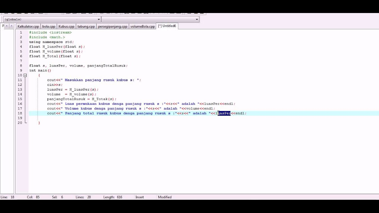 Tutorial Membuat Program Luas Dan Volume Kubus Dengan C Youtube