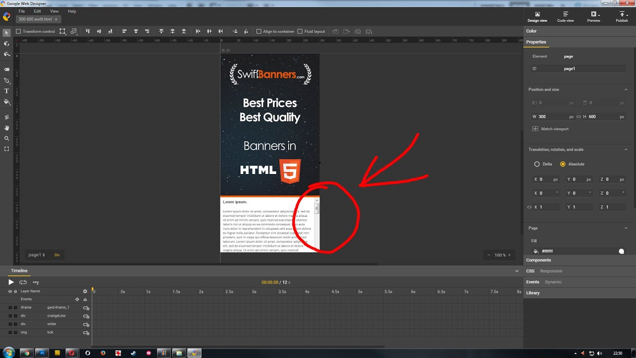 How to add Scrolling Text in Google Web Designer - iFrame Component Tutorial