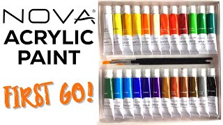 NOVA Acrylic Paint Review // First go with acrylics on canvas, glass and stones!