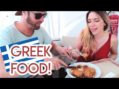 Trying GREEK FOOD in SANTORINI - Greece 2018