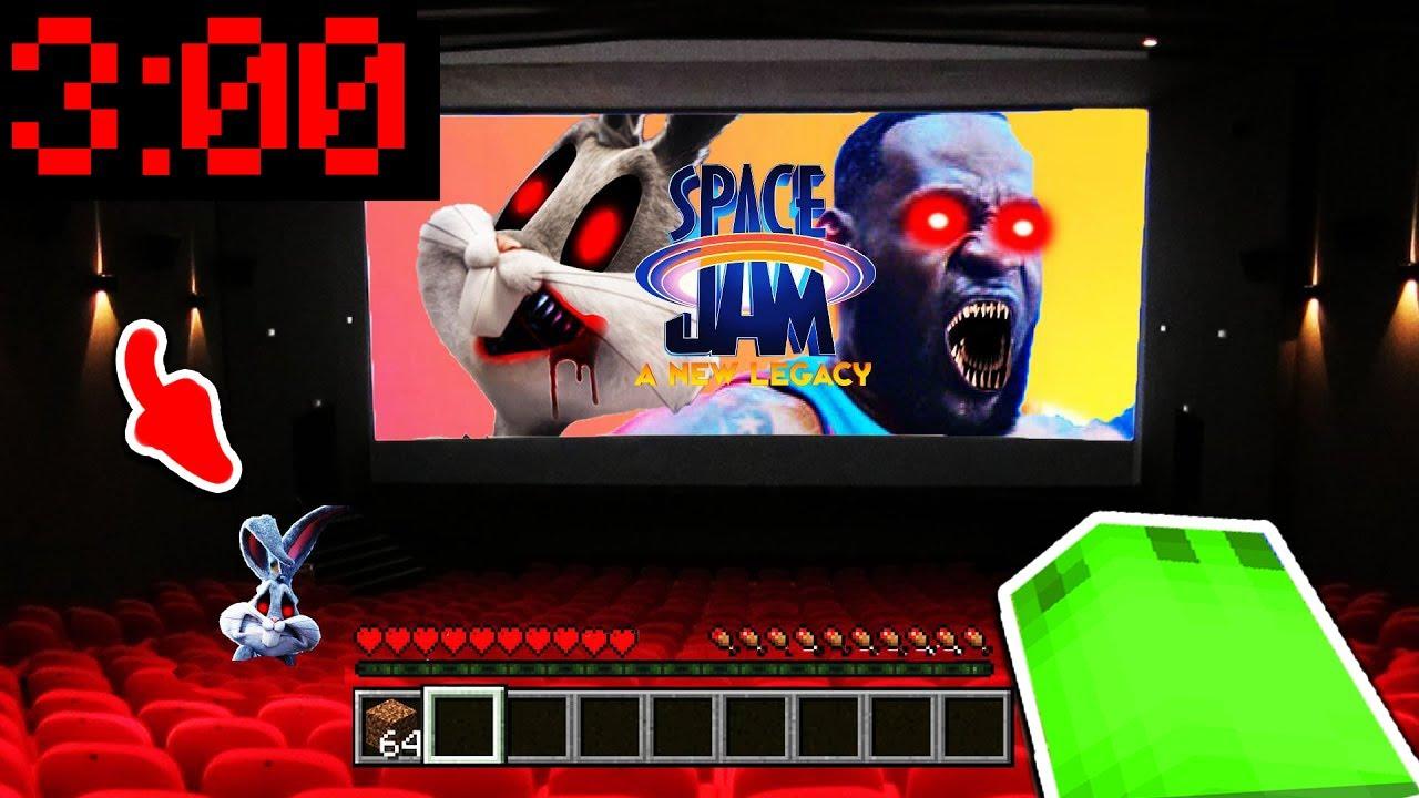 SCHAUE NIEMALS SPACE JAM 3 UHR NACHTS IM KINO in Minecraft!