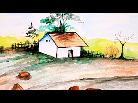 How To Paint A Beautiful Scenery | Landscape Painting For Children | Art For Kids | Simple & Easy