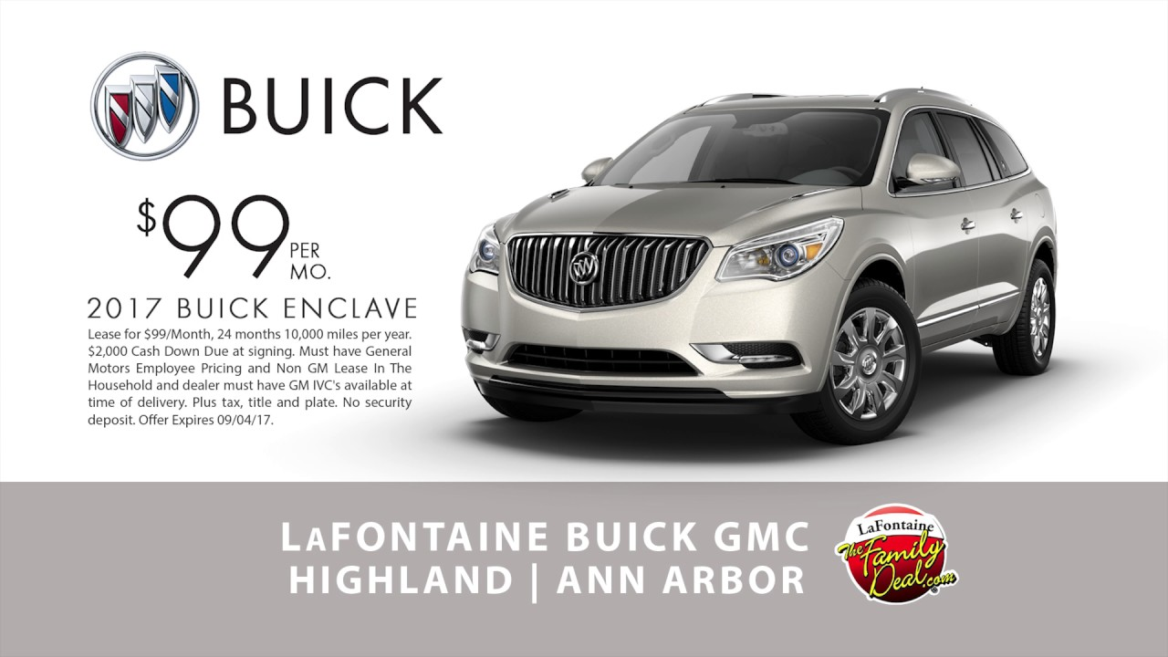 lafontaine buick gmc ann arbor 2017 buick enclave 99 month august 2017 youtube. Black Bedroom Furniture Sets. Home Design Ideas