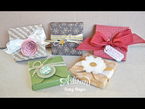 Treat box using the Stampin Up Gift Box punch board