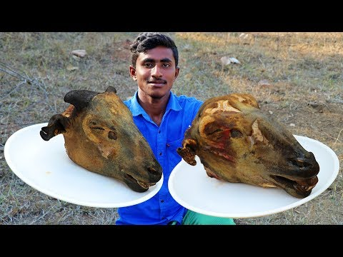 DELICIOUS 2 LAMB HEADS COOKING | HEAD CURRY IN WILD |