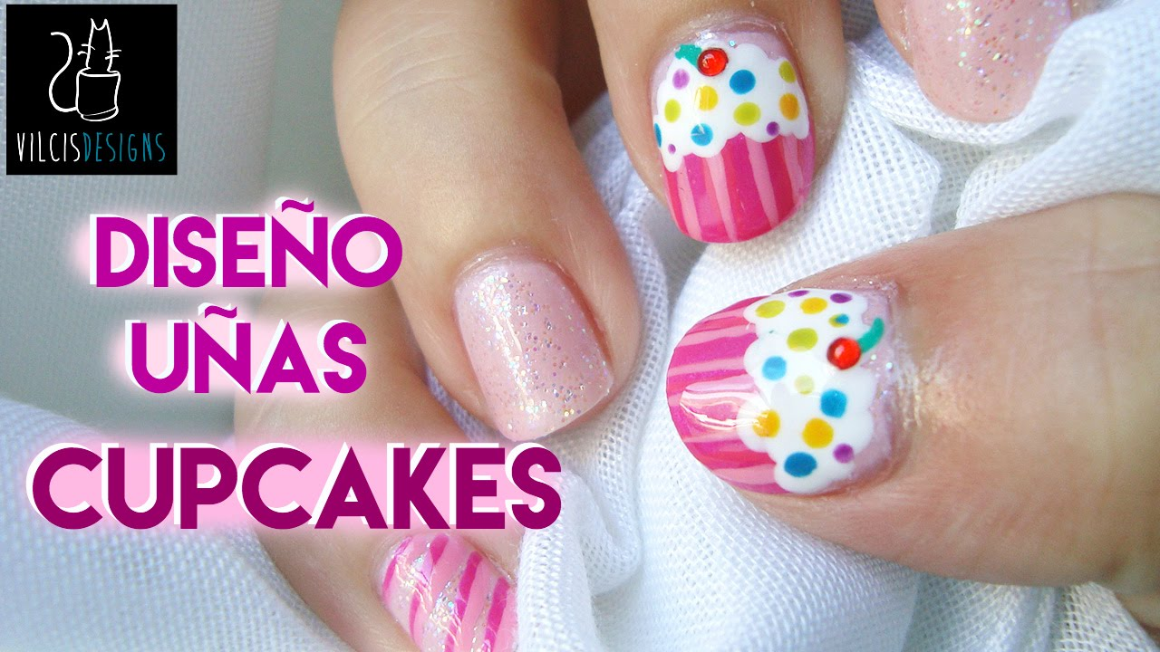 Diseño de uñas: pastelitos rosas / Nail design: pink cupcakes - YouTube