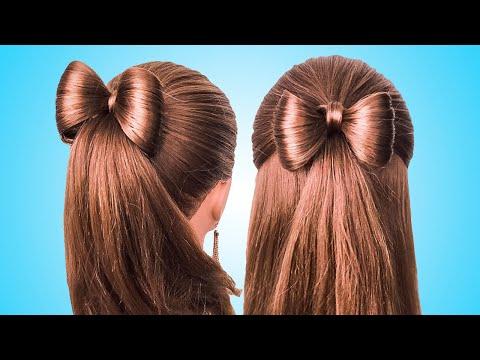 Простые Прически с бантиком на длинные волосы/Coiffure avec noeud papillon🎀long Hair bow tutorial