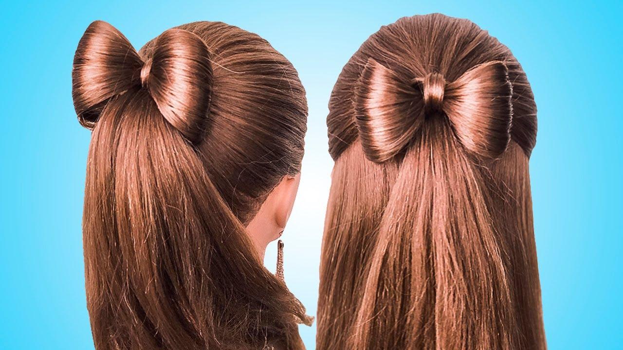 Простые Прически с бантиком на длинные волосы/Coiffure avec noeud papillon????long Hair bow tutorial