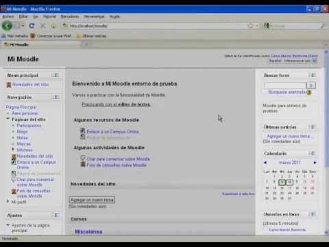Moodle 2.0.1 - Acceso y presentación del entorno de trajo