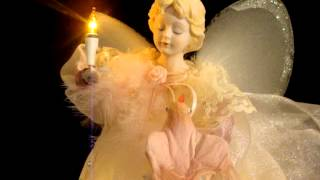 """1980's Mec 13"""" Animated & Lights Up Angel Tree Table Topper Moving Wings  Porcelain Head Hands"""