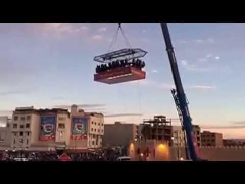 Restaurant in the air crane snaps. Cable snaps at 1:09