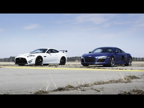 2014 Audi R8 V10 Plus vs. 2014 Jaguar XKR-S GT | STANDING MILE