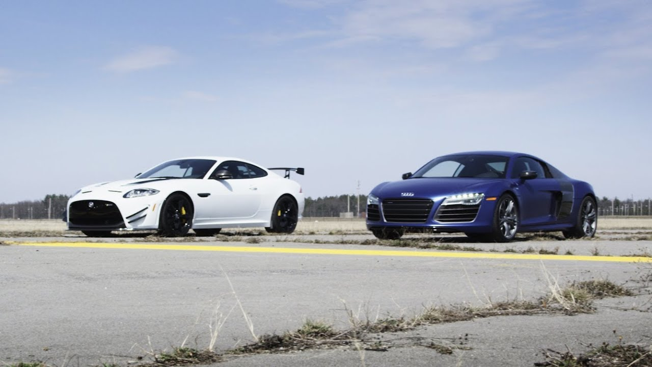 2014 Audi R8 V10 Plus vs. 2014 Jaguar XKR-S GT   STANDING MILE
