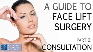 A Guide to Face Lift surgery part 2 Consultation video by Cosmetic Surgery Partners London UK Thumbnail