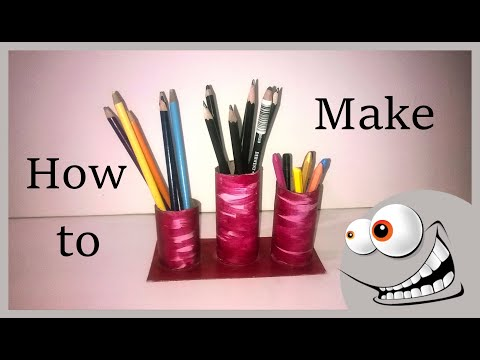 Diy pencil holder recycled with toilet paper roles.