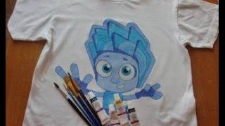 Как нарисовать на футболке акриловыми красками Фиксика-Нолика.(Чтобы нанести рисунок на футболку, в первую очередь её необходимо выстирать, подложить во внутрь картон..., 2016-07-06T05:53:10.000Z)