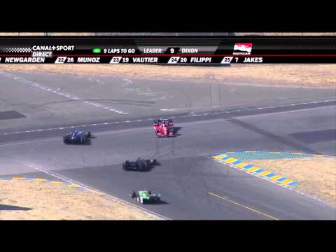 [HD] Sebastien Bourdais nasty move to Graham Rahal - indycar 2015 Sonoma