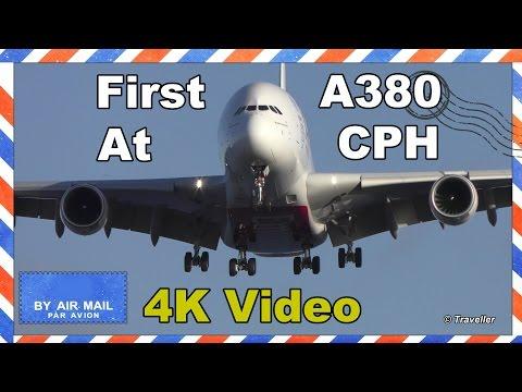 First Emirates Airbus A380 at Copenhagen Airport - Første A380 til Københavns Lufthavn - 4K Video