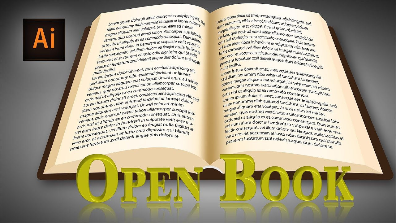 illustrator book design how to draw an open book in ...