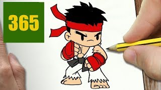 HOW TO DRAW A RYU CUTE, Easy step by step drawing lessons for kids