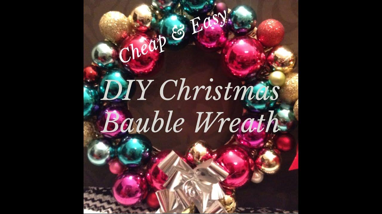 Christmas diy bauble ornament wreath easy cheap youtube solutioingenieria Choice Image