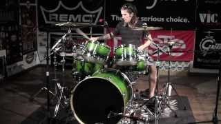 "Greenbrier - Sonor Essential Force (All Birch) 6pc S-Drive Green Fade Drum Demo 22"" Bass"