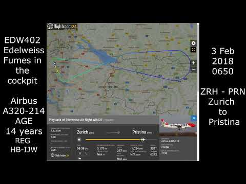 Edelweiss Air EMERGENCY landing Fumes in Cockpit Zurich to Pristina ATC radio WK402 EDW402