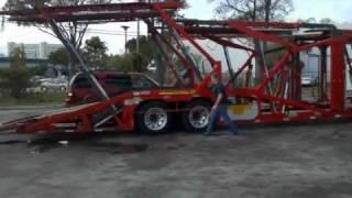 aa car transport red suv loaded to 10 car hauler v1.wmv