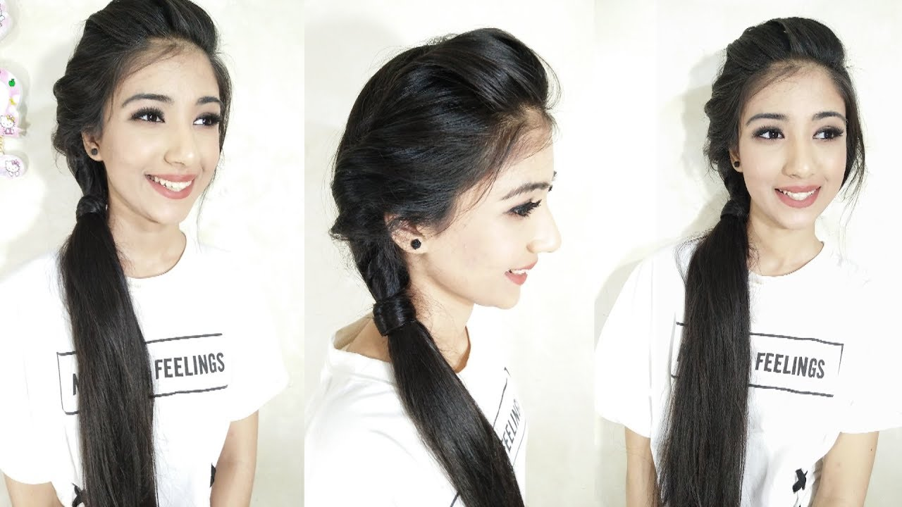 Side Twist Ponytail Hairstyles For medium Hair | 2 minute hairstyle ...
