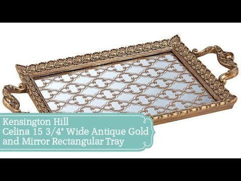 "Kensington Hill Celina 15 3/4"" Wide Antique Gold  and Mirror Rectangular Tray"