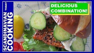 Peppercorn Smoked Salmon On A Pretzel Bun Sandwich
