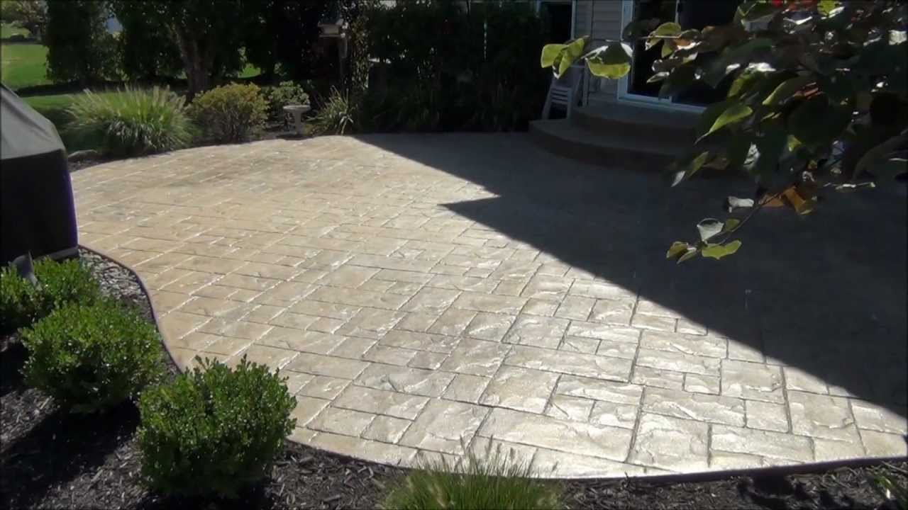 Stamped concrete patio cleaning and sealing in avon lake for Cleaning concrete patio