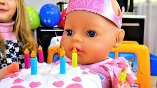 Funny Baby playing with Baby Born Doll Happy Birthday