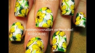Nail Art! Diy Yellow Flower Nails! Fun Floral Nail Design Tutorial!