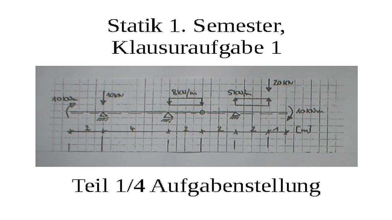Statikklausuraufgabe zweifeldtr ger mit kragarm und gelenk for Statik gelenk