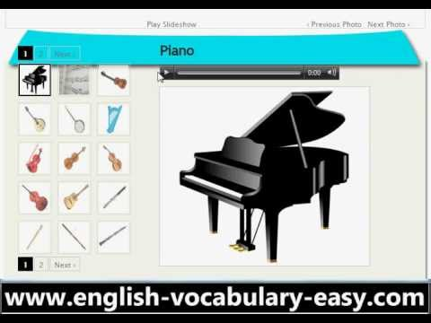 English Vocabulary Musical Instruments (http://www.facile-anglais.com)