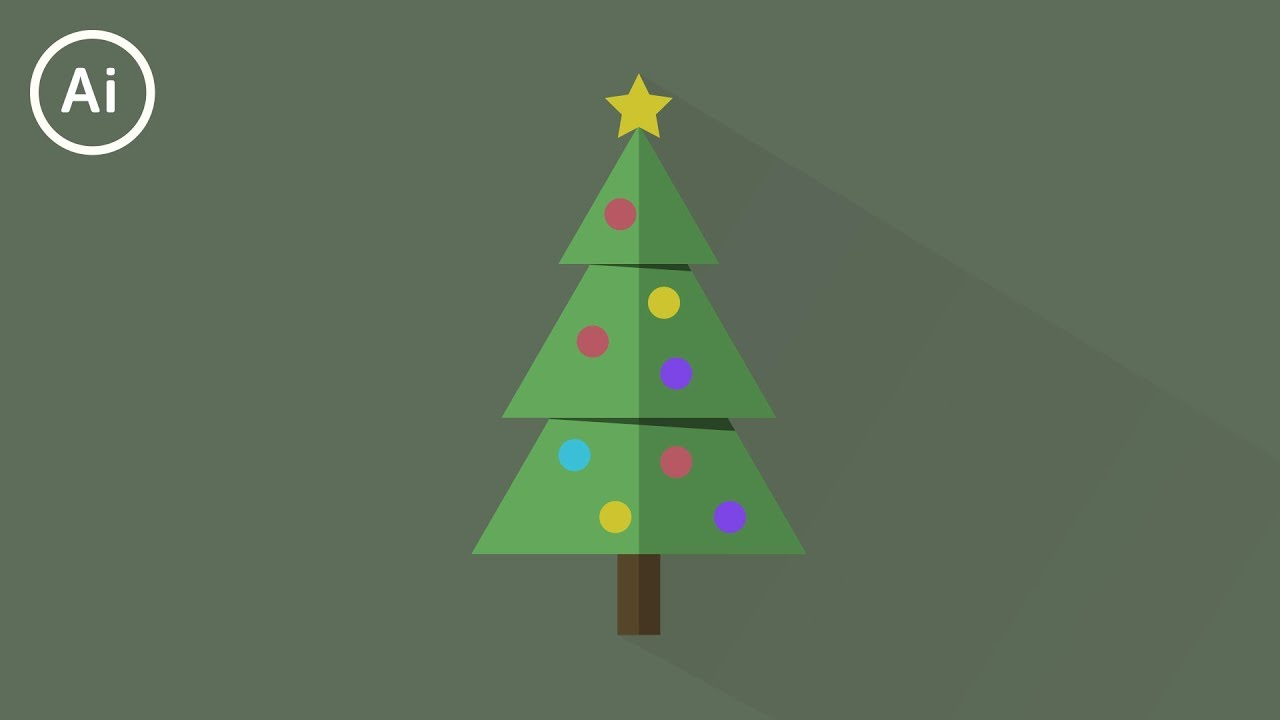 Christmas Tree Illustration.Minimal Flat Design Christmas Tree Illustrator Cc Tutorial