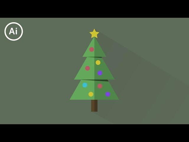 Minimal Flat Design Christmas Tree | Illustrator CC Tutorial