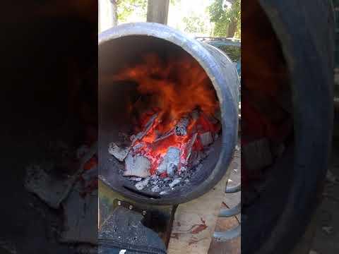 Homemade DIY gasification boiler full blown burn
