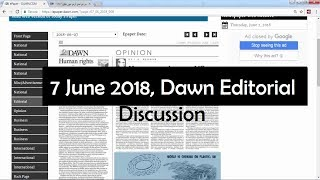 7 June 2018 - Dawn Editorial News Paper Discussion - [CSS/PCS/PMS] Current affairs