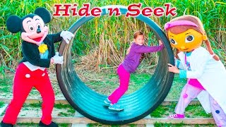 ASSISNTANT Real Life Hide N Seek with Mickey Mouse + Funny Pig Corn Maze Fun Video