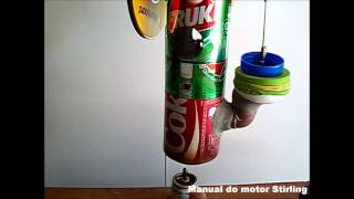 3ª teste do motor Stirling Gama simplificado 1650 RPM - 3rd Stirling engine test simplified Gamma