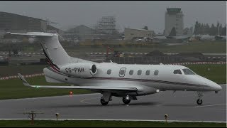 NetJets Embraer Phenom 300 CS-PHH Take Off at Cambridge Airport