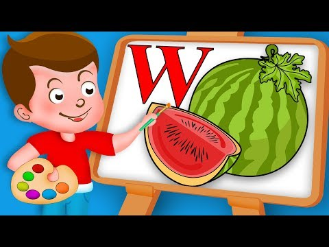 Drawing Alphabet W Letter with Watermelon Fruit Drawing Paint And Colouring For Kids kids Drawing TV