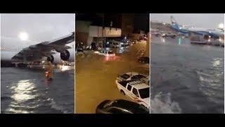 خطيير إنذار بخطر حقيقي... شاهد الطائرات تسبح في مطار الكويت و سيول جارفة تجتاح الشوارع !!!