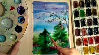 Рисование пейзажа в технике по-мокрому, для начинающих. Обучающее видео.