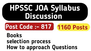 HPSSC JOA Syllabus Discussion || post code 817 || books || hpcompetitiveexams