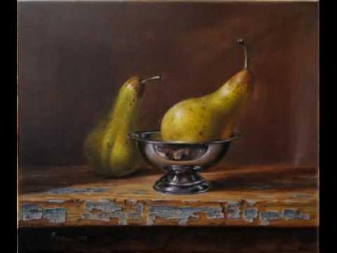 Pears oil painting still life realism Daniel C. Chiriac fine art